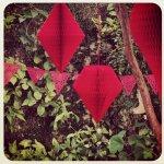 Cordão de Bandeirinhas Rendada Vermelho e Kit de Papel de Seda Vermelho
