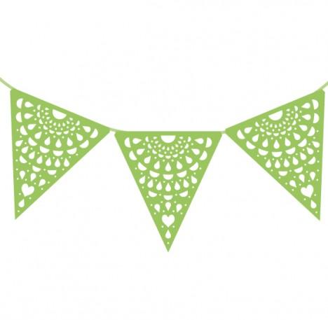 Cordão de Bandeirinha Rendada Verde Claro